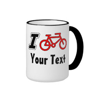 I Love Cycling Blank Ringer Mug
