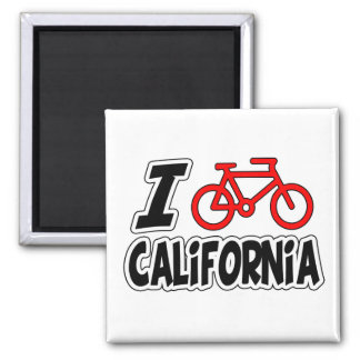 I Love Cycling California 2 Inch Square Magnet