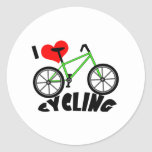 I Love Cycling Classic Round Sticker