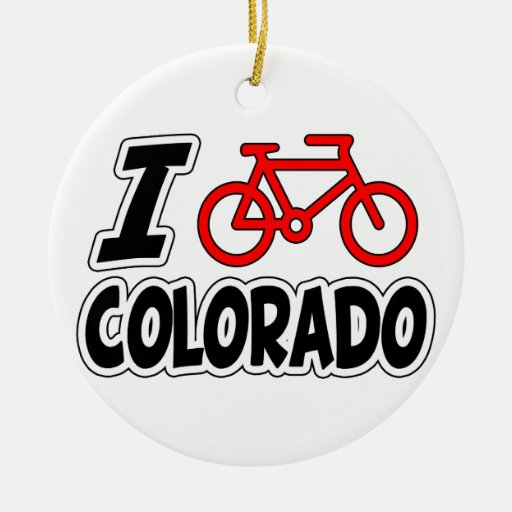 I Love Cycling Colorado Double-Sided Ceramic Round Christmas Ornament