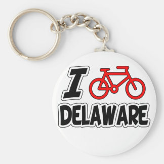 I Love Cycling Delaware Basic Round Button Keychain