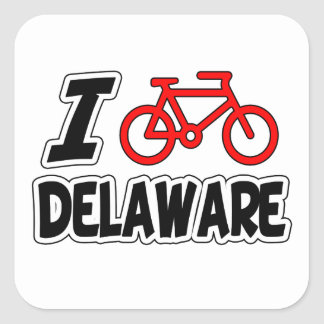 I Love Cycling Delaware Square Stickers