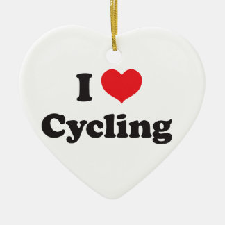I love cycling Double-Sided heart ceramic christmas ornament