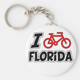 I Love Cycling Florida Basic Round Button Keychain