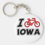 I Love Cycling Iowa Basic Round Button Keychain