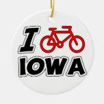 I Love Cycling Iowa Ceramic Ornament