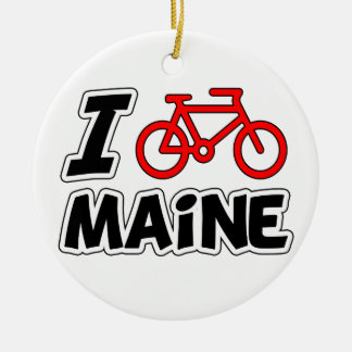 I Love Cycling Maine Double-Sided Ceramic Round Christmas Ornament