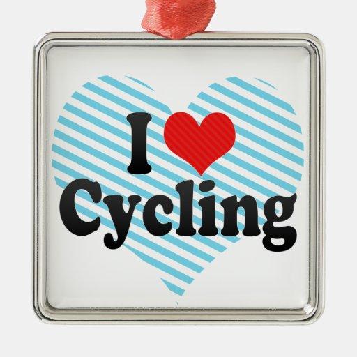 I Love Cycling Metal Ornament