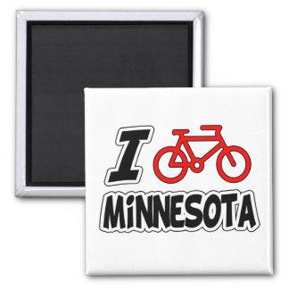 I Love Cycling Minnesota 2 Inch Square Magnet