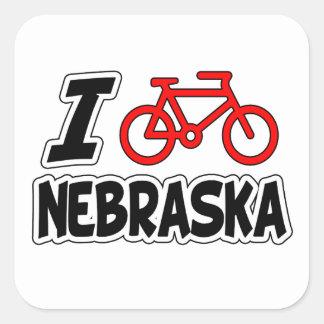 I Love Cycling Nebraska Square Sticker