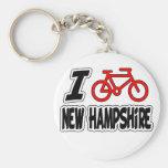 I Love Cycling New Hampshire Keychain