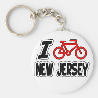 I Love Cycling New Jersey Basic Round Button Keychain