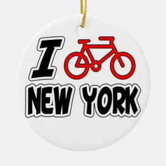 I Love Cycling New York Ceramic Ornament