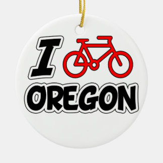 I Love Cycling Oregon Christmas Tree Ornaments