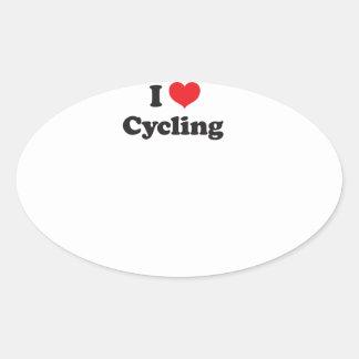 I love cycling oval sticker