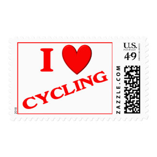 I Love Cycling Postage Stamp