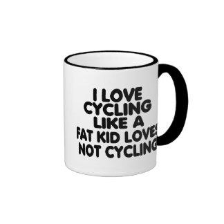 I Love Cycling Ringer Coffee Mug