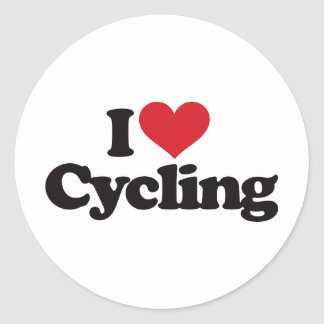 I Love Cycling Round Stickers