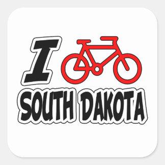 I Love Cycling South Dakota Square Sticker