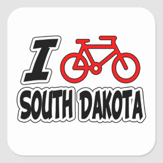 I Love Cycling South Dakota Square Stickers