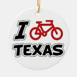 I Love Cycling Texas Ceramic Ornament