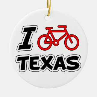I Love Cycling Texas Ceramic Ornament