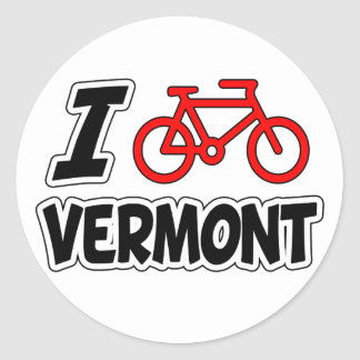 I Love Cycling Vermont Round Sticker