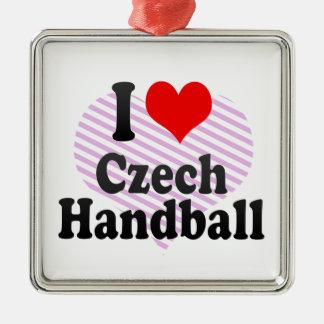 I love Czech Handball Square Metal Christmas Ornament