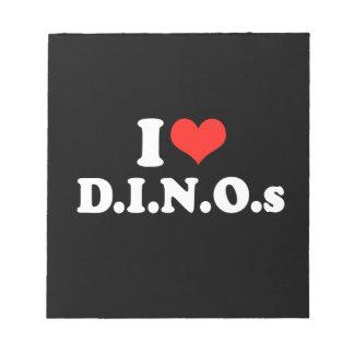 I LOVE D I N O S png Memo Note Pad
