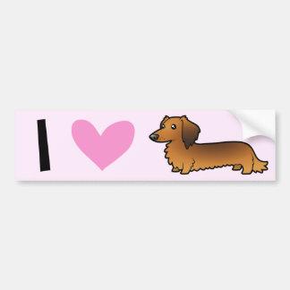 I Love Dachshunds (longhaired) Bumper Sticker