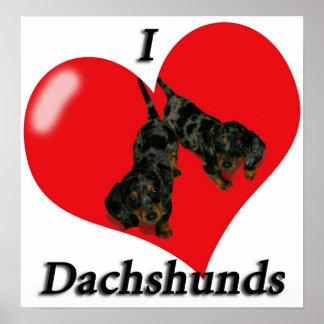 I Love Dachshunds Poster