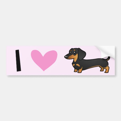 I Love Dachshunds (smooth coat) Bumper Stickers