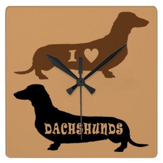 I Love Dachshunds Square Wall Clock