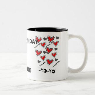 I LOVE DAD, HAPPY FATHER'S DAY Two-Tone COFFEE MUG