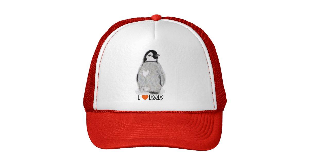 I love dad penguin baseball cap birthday christmas trucker
