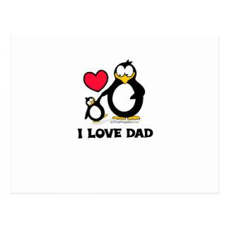 I Love Dad Penguin Heart Postcard