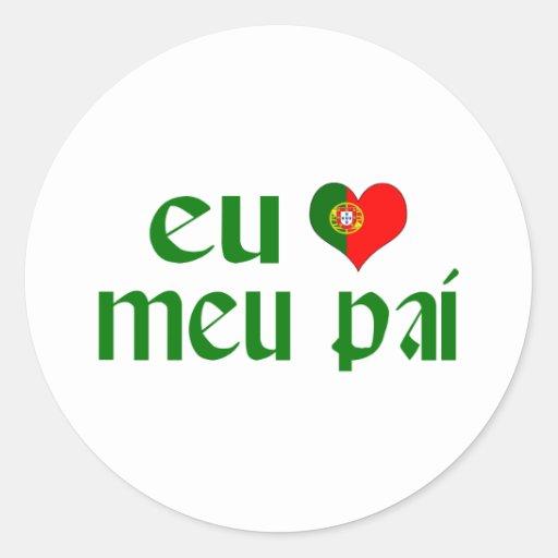 I love Dad - Portuguese Classic Round Sticker