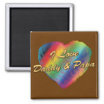 I Love Daddy and Papa Fridge Magnets
