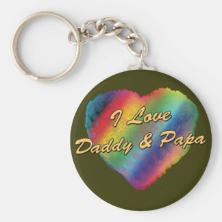 I Love Daddy and Papa Keychain