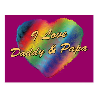 I Love Daddy and Papa Postcard