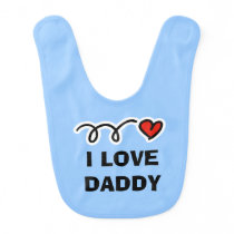 I love daddy | Cute blue baby bib for little boy