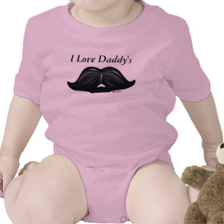 I Love Daddy's Moustache, Wax Candy Design Pink Baby Bodysuits
