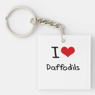 I Love Daffodils Double-Sided Square Acrylic Keychain