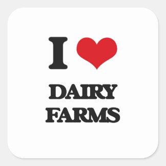 I love Dairy Farms Square Sticker