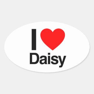i love daisy oval sticker
