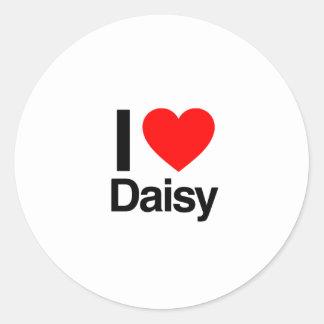 i love daisy classic round sticker