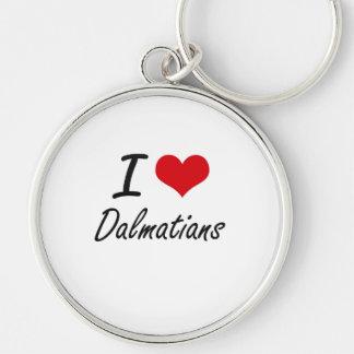 I love Dalmatians Silver-Colored Round Keychain
