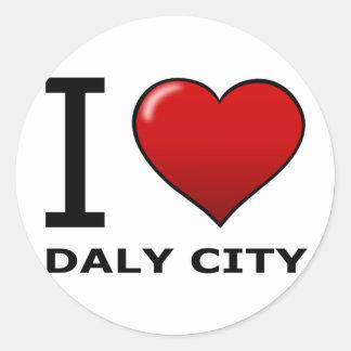 I LOVE DALY CITY, CA - CALIFORNIA ROUND STICKERS