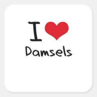 I Love Damsels Square Stickers