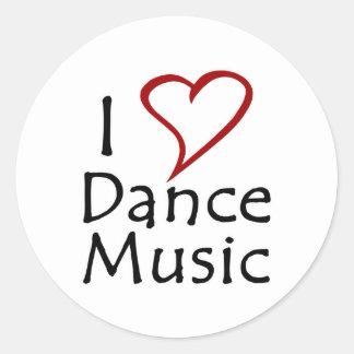 I Love Dance Music Classic Round Sticker